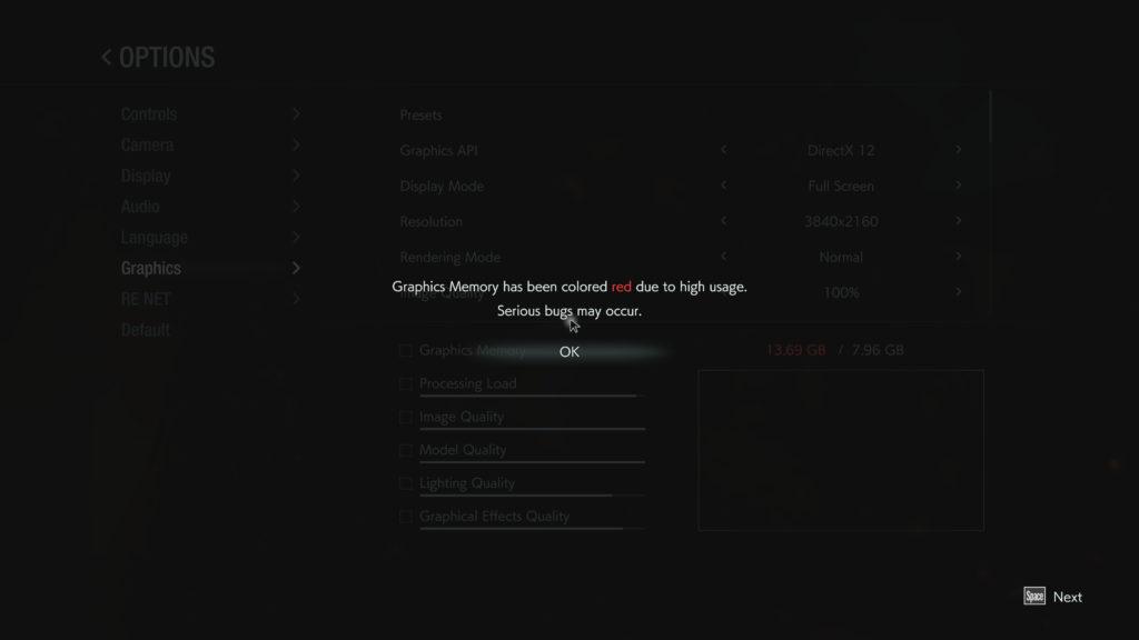 Resident Evil 3 Graphics Menu