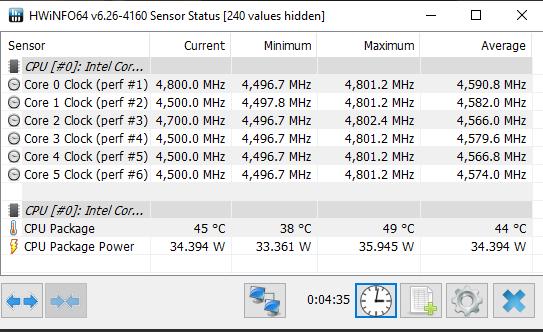 Intel Core i5-10600K HWiNFO Single-Core CPU Frequency