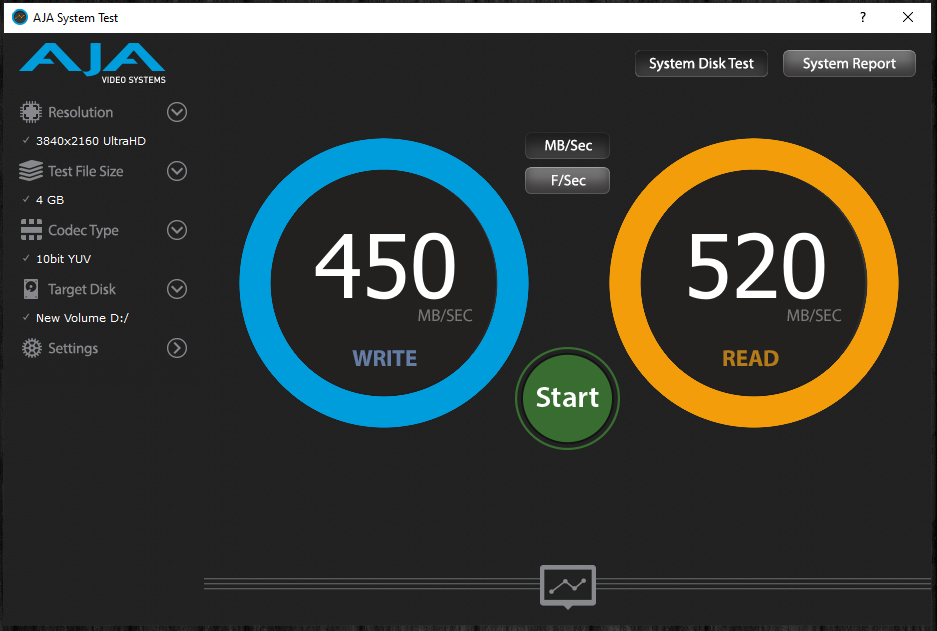 TeamGroup T-Force Vulcan 500GB SSD AJA System Test Benchmark