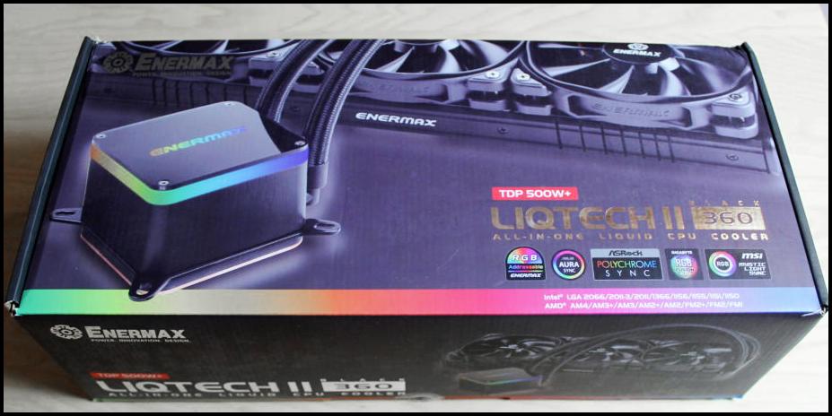 Enermax LIQTECH II 360 AIO Cooler in the retail packaging box
