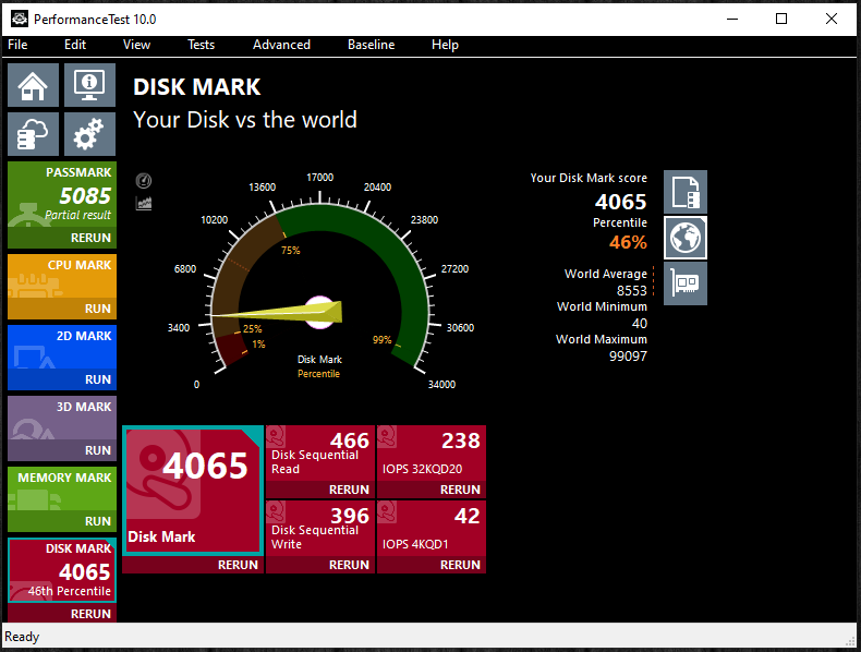 TeamGroup T-Force Vulcan 500GB SSD PassMark PerformanceTest 10.0 Score