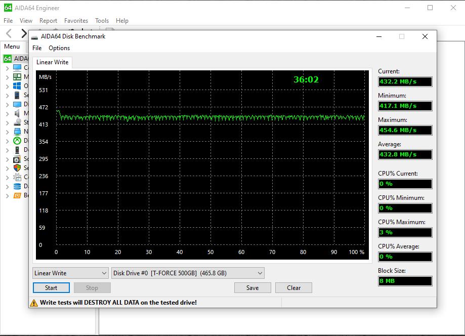TeamGroup T-Force Vulcan 500GB SSD Aida64 Linear Write Benchmark