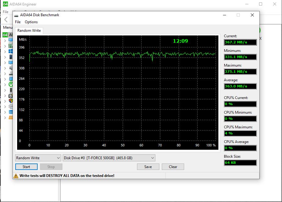 TeamGroup T-Force Vulcan 500GB SSD Aida64 Random Write Benchmark