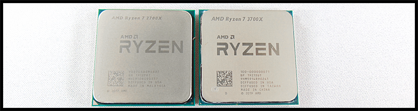 AMD Ryzen 7 2700X CPU beside AMD Ryzen 7 3700X CPU on a white background