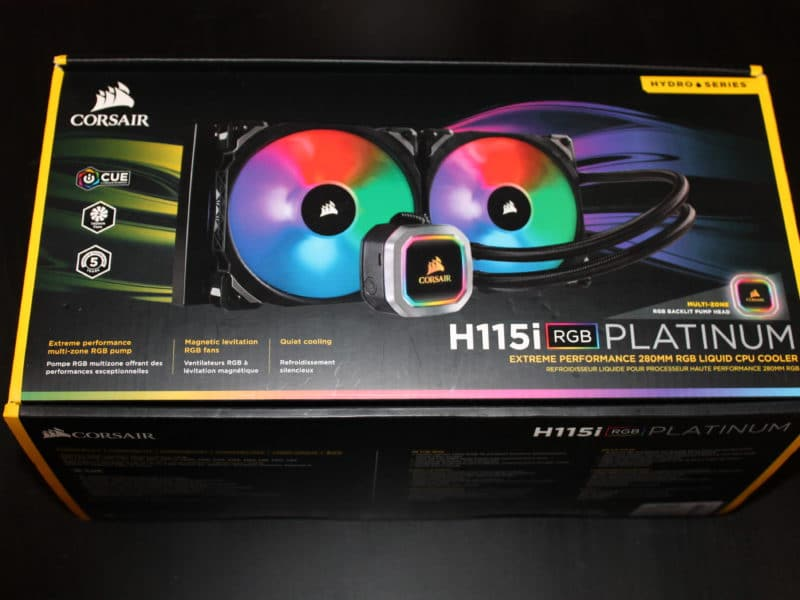 Front of Corsair H115i Platinum Box