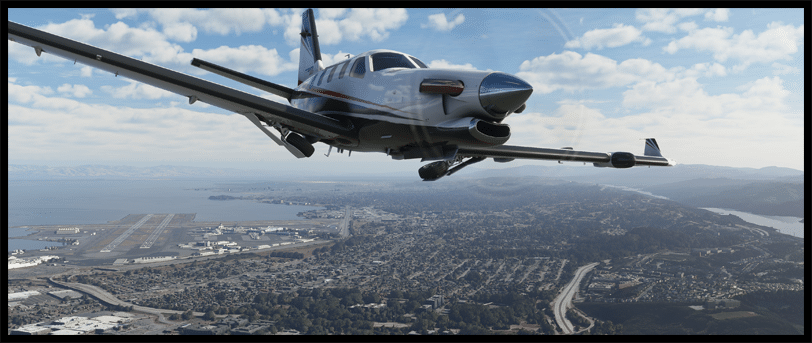 Microsoft Flight Simulator 2020 Banner Plane flying over ground terrain
