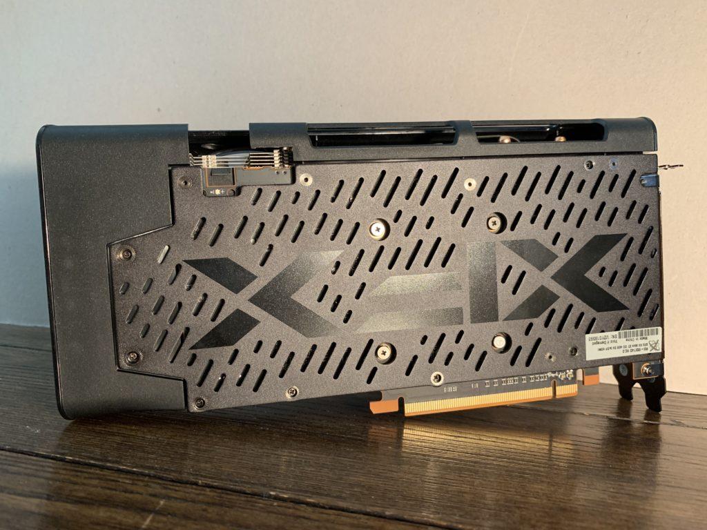 XFX Radeon RX 5500 XT THICC II Pro video card backside on desk