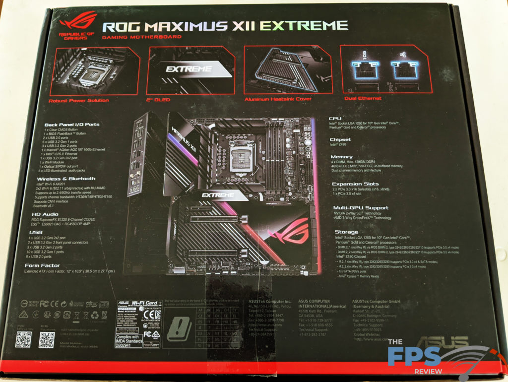 ASUS ROG MAXIMUS XII EXTREME Motherboard Box Back