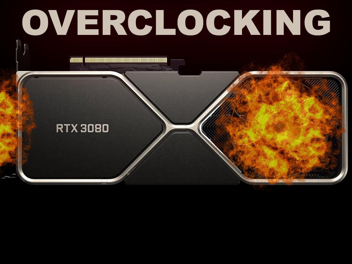NVIDIA GeForce RTX 3080 Founders Edition Overclocking Featured Image Video Card isolated on black background with flames and title