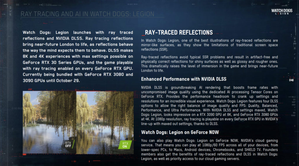 Watch Dogs Legion Ray Tracing and AI information and presentation slide
