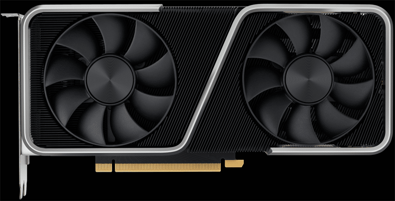 NVIDIA GeForce RTX 3060 Ti Founders Edition Video Card on Black Background