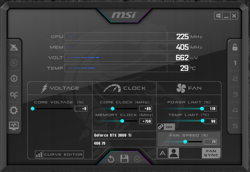 NVIDIA GeForce RTX 3060 Ti FE MSI Afterburner Overclock