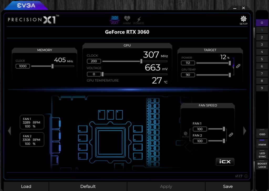 Overclocked EVGA GeForce RTX 3060 XC BLACK GAMING EVGA Precision X1 Highest Stable Overclock