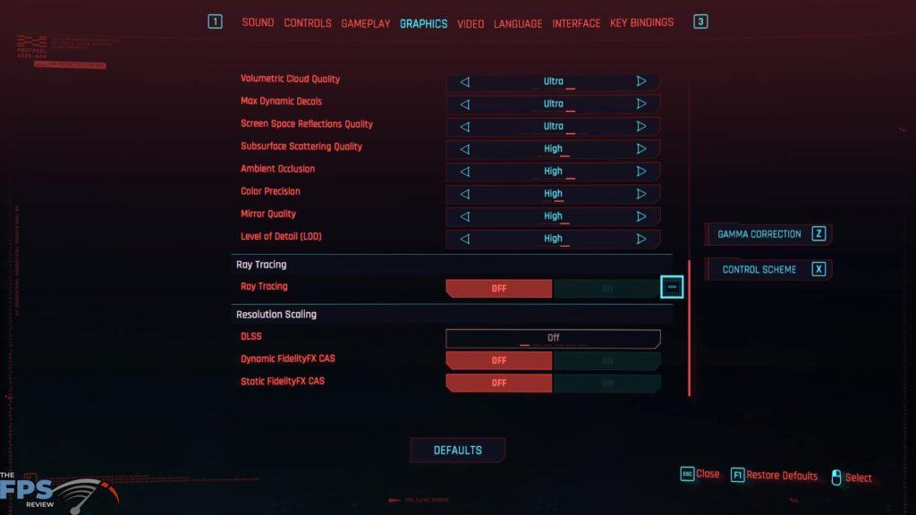 Cyberpunk 2077 Menu Graphics Settings