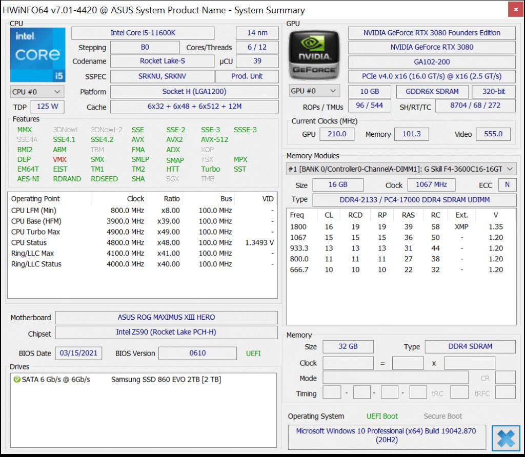 Intel Core i5-11600K CPU HWiNFO64